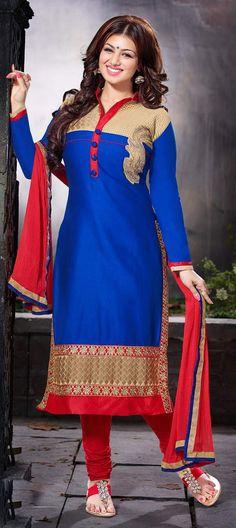435852: Blue color family unstitched Bollywood Salwar Kameez, Cotton Salwar Kameez .