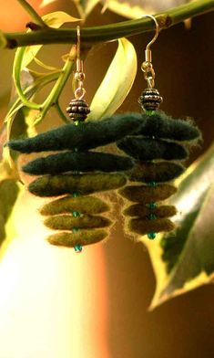 green staff felt earrings by Dorifelt on Etsy