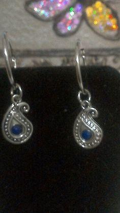Katydids Blue Paisley Hoop Earrings