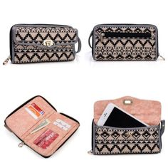 Smartphone Wristlet Wallet Apple iPhone 6 | All In One - Crossbody Shoulder Chain Included | Tan Black White Aztec Tribal Pattern