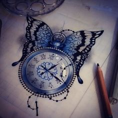 Available design ☺ #tattoo #design #pocketwatch #uktattooartist #plymouth #neotraditional #design #butterfly #iguk