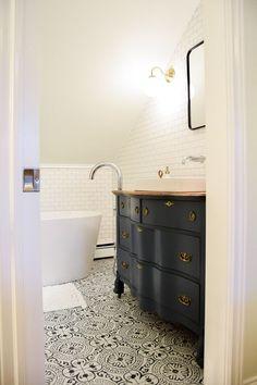 Like The Vanity With Floors Modern Vintage Bathroom Remodel Attic