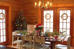 Christmas Table in a Log Home