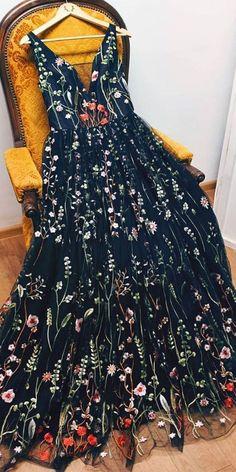 A-line V neck Black Boho Long Formal Dresses Unique Floral Formal Evening Gowns Prom Dresses Prom Dresses, Source by amyprom_dress Dresses formal Modest Formal Dresses, Dresses Elegant, Unique Prom Dresses, Homecoming Dresses, Pretty Dresses, Formal Boho Dress, Boho Prom Dresses, Formal Wear, Awesome Dresses