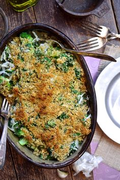 Baked Greens with a Crusty Crumb Topping