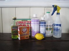 complete guide to making household cleansers from Dr.Bronner's castile soap, borax, baking soda, vinegar, olive oil, essential oils, lemon, etc.