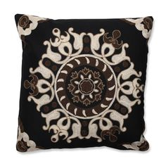 Suzani Black 18-inch Embroidered Throw Pillow | Overstock.com Shopping - Great Deals on Pillow Perfect Throw Pillows