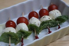 Caprese salad on a stick - could drizzle with balsamic vinegar.  Can also use cheese tortelini
