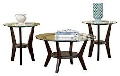Ashley Furniture Signature Design – Fantell Circular Glass Top Occasional Table Set – Contains Cocktail Table & 2 End Tables – Contemporary – Dark Brown