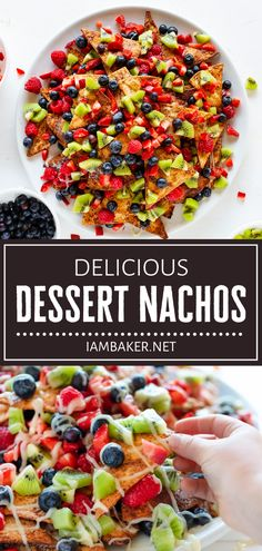 Dessert Nachos will be an instant hit with everyone! In this recipe, easy homemade cinnamon sugar chips are layered to perfection with a pile of fruits then drizzled with a sweet cream cheese glaze. Indulge in every delightful bite of this summer dessert! Save this pin! Fruit Recipes, Appetizer Recipes, Mexican Food Recipes, Sweet Recipes, Vegan Recipes, Cooking Recipes, Appetizers, Kitchen Recipes, Cooking Tips