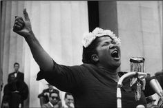 Henri Cartier-Bresson     Mahalia Jackson Performing at the Pilgrimage for Freedom Civil Rights Rally, Lincoln Memorial, Washington D.C.     1957