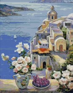 Mediterranean roses cross stitch kit or pattern