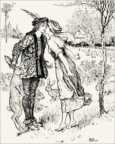 Jesper who herded the Hares - The Violet Fairy Book by Andrew Lang, 1901