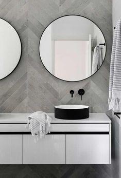 Mirror Bathroom Modern Best Of Chevron Modern Grey Tile Bathroom Wall Ideas Bathroomtileideas Neutral Bathroom Tile, Grey Bathrooms, Modern Bathroom, Gold Bathroom, Mosaic Bathroom, Modern Vanity, Bathroom Mirrors, Chevron Bathroom, Chevron Tile
