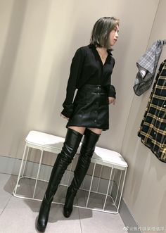 Leather Boots, Leather Skirt, Sexy Asian Girls, Simple Outfits, Celebrities, Skirts, Nice, Style, Fashion