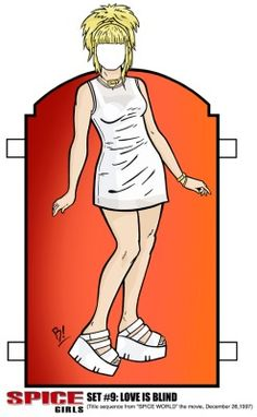 SPICE GIRLS PAPER DOLLS set #9: LOVE IS BLIND BABY SPICE BY B! (Bryan R Hollingsworth)#SPICEgirls #BabySpice #EmmaBunton #Spice #SPICEworld #PaperDoll #Movie #Blond #Baby #Pop #1997 #Film #GirlPower #TOTP #Art #Illustration #White #Dress #BryanHollingsworth #Platforms #Music #TooMuch * 1500 free paper dolls at Arielle Gabriel's The International Paper Doll Society and also free China and Japan paper dolls at The China Adventures of Arielle Gabriel *