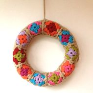 Wreath-what a great idea for using those granny squares up!