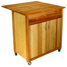 @Overstock - Add rustic style and much-needed functionality to your kitchen with this cart featuring a butcher block top, locking caster wheels and towel bar. This cart boasts an oiled finish over sustainably-harvested yellow birch hardwood.  http://www.overstock.com/Home-Garden/Catskill-Craftsman-Mid-Size-Two-Door-Drop-Leaf-Cart/7182900/product.html?CID=214117 $331.99