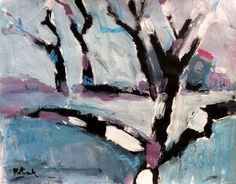 Abstract Modern Painting with trees snow and by PotakPaintsArt
