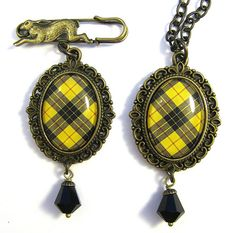 RESERVED FOR KIM Ancient Romance Series - Scottish Tartans Collection - MacLeod of Lewis Yellow/Black Tartan Brooch and Necklace