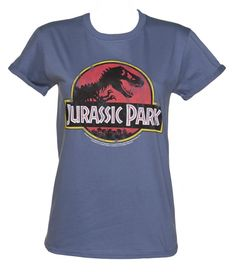 Ladies Jurassic Park Logo Rolled Sleeve Boyfriend T-Shirt