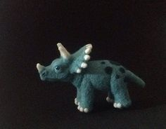 Small needle felted triceratops dinosaur