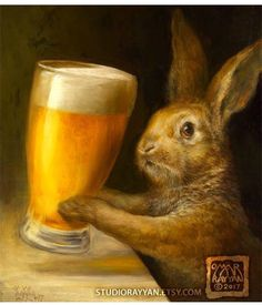 Bunny with Beer (print) bar decor rabbit brewery illustration artwork Legolas, Omar Rayyan, Lapin Art, Funny Animals, Cute Animals, Rabbit Art, Bunny Rabbit, Bunny Art, Oeuvre D'art
