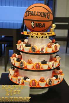 Basketball Themed Baby Shower Cake - Images Cake and Photos MasakanEnak. Basketball Cupcakes, Basketball Party, Backyard Basketball, Basketball Gifts, Basketball Quotes, Sports Party, Basketball Hoop, Basketball Players, Sport Cakes