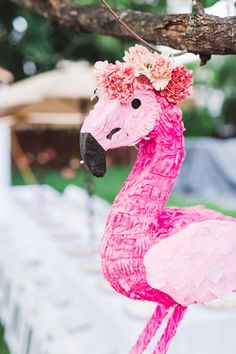 Flamingo pinata from Kara's Party Ideas! Check out this Florals & Flamingos Birthday Party at karaspartyideas.com!