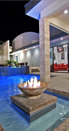 Swimming Pool Exterior With Fireplace At Contemporary And Luxury Tenaya Residence In Las Vegas Desig home trends design photos, home design picture at Home Design and Home Interior Cool Swimming Pools, Swimming Pool Designs, Luxury Pools, Luxury House Plans, Dream Pools, Beautiful Pools, Relax, To Infinity And Beyond, Luxury Decor