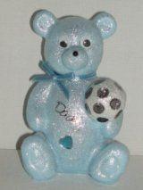 Daddy Football Baby Blue Teddy Bear Outdoor Cemetery Grave Memorial Ornament
