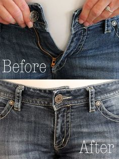 How to Make the Waist Bigger on Jeans. You can easily make the waist bigger of your jean to fit your waist perfectly.How To Make The Waist Bigger In A Pair Of Jeans . instead of getting rid of a pair of jeans that is too small in the waist, make them Altering Jeans, Altering Clothes, Shirt Makeover, Sewing Patterns Free, Free Sewing, Sewing Hacks, Sewing Tutorials, Sewing Tips, Sewing Box