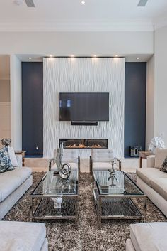 Accent Walls In Living Room, Living Room With Fireplace, New Living Room, Living Room Modern, Living Room Designs, Living Room Decor, Small Living, Cozy Living, Style Miami