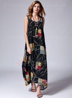 Dresses - $43.27 - Cotton Linen Sleeveless Maxi Casual Dresses (1955123448)