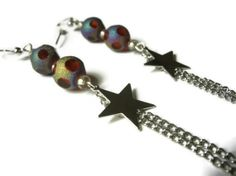 Shooting Star Earrings, Silver Toned Metal Star Charms and Chain, Glass Shimmer Bead Accents Silver Toned Nickel Free Hooks #stars #shootingstars #galaxy #earrings #jewelry #chainearrings #starearrings #comet $10.00