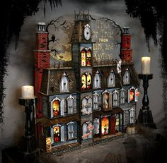 This Halloween Advent Calendar house is hand crafted. It's a spooky Victorian mansion that's sure to amaze you.