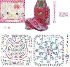 Tejido Facil: Patrón: Pastilla cuadrada de Hello Kitty