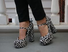 Some Forever21 black and white floral heels.