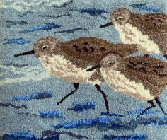 Hooked Rug Sandpipers Waters Edge Hand Hooked by GardenGateDesign Rug Hooking Designs, Rug Hooking Patterns, Hand Hooked Rugs, Textiles, Textile Fiber Art, Braided Rugs, Penny Rugs, Original Art, Punch Needle