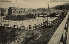 Pocztówka: Warszawa, wiadukt przy ul. Karowej (ca 1908)