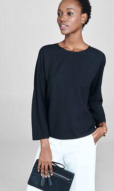 long dolman sleeve boxy blouse