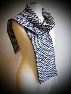 Chevron woven scarf black and white scarf fall scarf by Delekselja