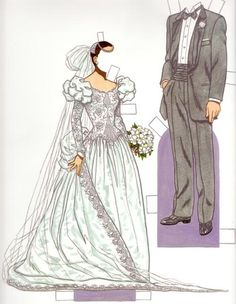 "Bride & Groom 1980s*1500 free paper dolls at Arielle Gabriel""s The International Paper Doll Society and free Chinese Japanese paper dolls at The China Adventures of Arielle Gabriel *"