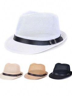 14247f780603c Men Women Hollow Out Mesh Top Hat Casual Braid Fedora Beach Sun Flax Panama  Jazz Hat