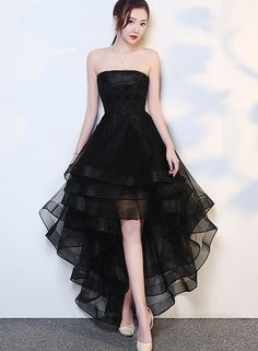 Black High Low Tulle and Applique Fashion Homecoming Dresses, Black Party Dress, Tulle Party Dress fashion dresses party cute outfits High Low Prom Dresses, Black Party Dresses, Trendy Dresses, Elegant Dresses, Day Dresses, Homecoming Dresses, Cute Dresses, Dress Outfits, Evening Dresses