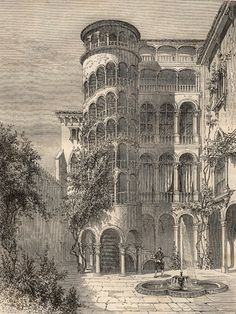 The staircase of Palazzo Contarini del Bovolo, Venice, Veneto, Italy,. Palazzo, Library Locations, Wood Engraving, New York Public Library, Picture Collection, Stairways, Taj Mahal, Scale, Louvre