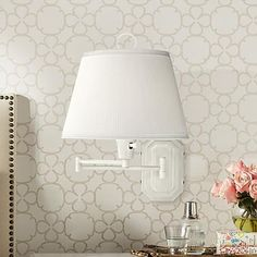 White Swing Arm Plug-in Wall Lamp