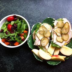 What I managed to scavenge that was good at my grandparents house. A spinach, tomato, carrot and cranberry salad bowl with turkey, hummus, mustard and pickle sandwich on multigrain bread and a mini apple