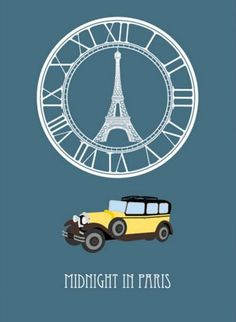 Midnight in Paris minimalist movie poster Best Movie Posters, Minimal Movie Posters, Minimal Poster, Cool Posters, Film Posters, Film Books, Book Tv, Paris Movie, Travel Movies