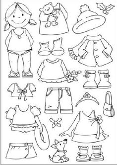 Little Girl paper doll Coloring & Cut outs by katheryn